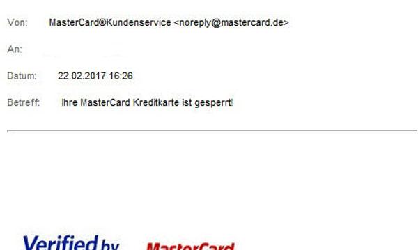 Phishing-Mail Mastercard gesperrt